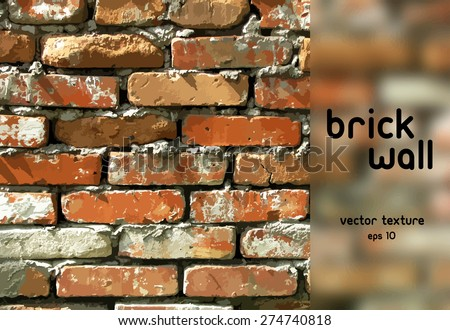 Brick wall. Vector background. You can remove blurred part and use full background - stock vector