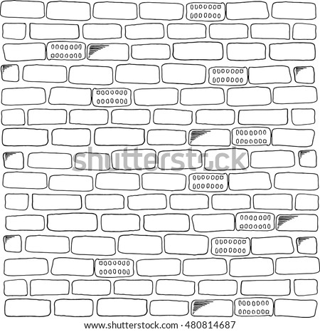 Brick Wall Vector Black And White Background Of A