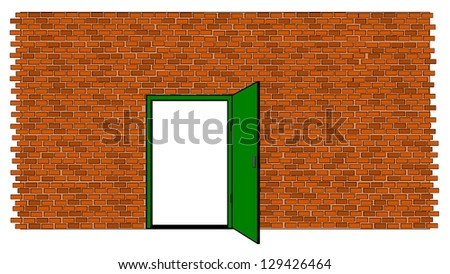 Brick wall with door open - stock vector