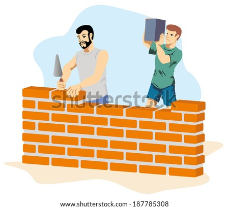 bricklayer building a wall  - stock vector