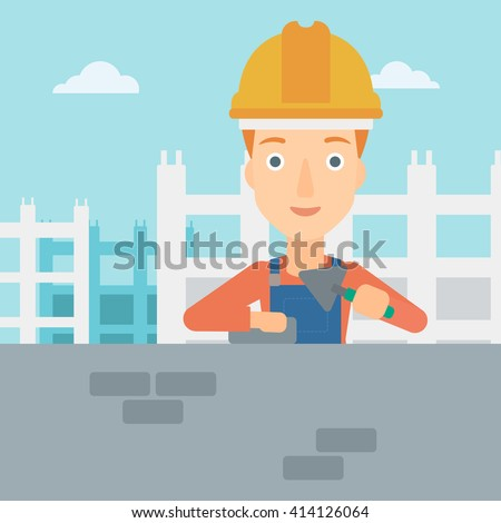 Bricklayer with spatula and brick. - stock vector
