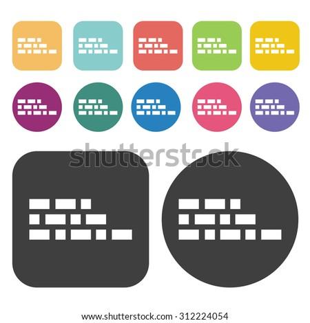 Bricks icons set. Vector Illustration eps10.  - stock vector