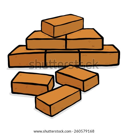 bricks stack / cartoon vector and illustration, hand drawn style, isolated on white background. - stock vector
