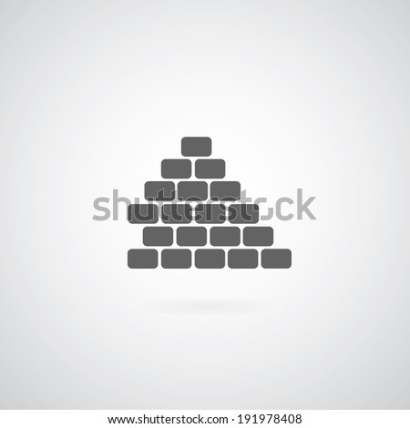 Brickwork icon on gray background  - stock vector