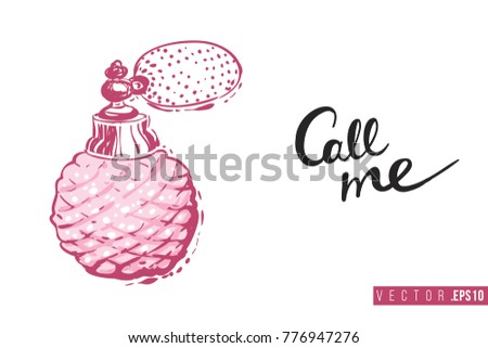 Bridal greeting card french perfume text stock photo photo vector bridal greeting card with french perfume and text call me tender pink composition for stopboris Image collections