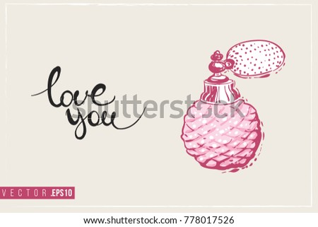 Bridal greeting card french perfume text stock vector 778017526 bridal greeting card with french perfume and text love you tender pink composition for stopboris Images