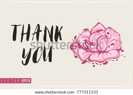 Bridal greeting card rose text thank stock vector 777311533 bridal greeting card with rose and text thank you tender pink composition for wedding m4hsunfo