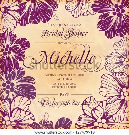 Bridal Shower Invitation - stock vector
