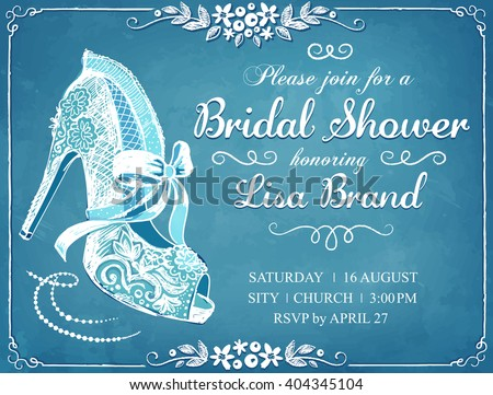 Bridal Shower invitation card with beautiful lace bride's shoe. Floral frame. Wedding invitation - stock vector