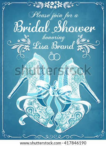 Bridal Shower invitation card with beautiful lace bride's shoes. Floral frame. Wedding invitation