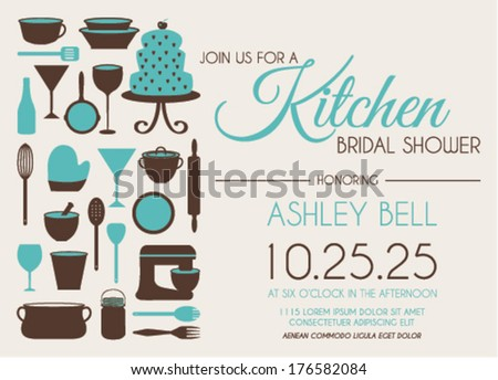 Bridal Shower Invitation Design with Turquoise Color in Vector - stock ...