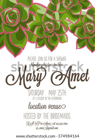 Bridal shower invitation or Wedding graphic set with succulents, wreath and glass terrariums - stock vector