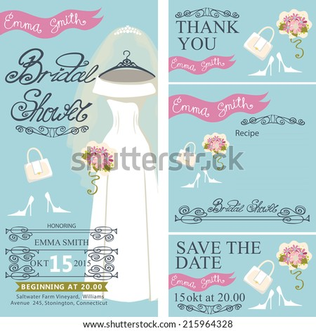 Bridal shower invitation set.Bridal dress with veil and bridal accessories, hand writing text,pink ribbon,swirling border.Dress hanging on hanger.Wedding invitation, cards.Vector - stock vector