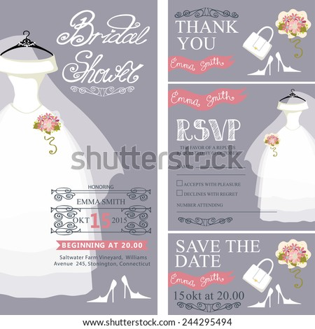 Bridal shower invitation set.Bridal wedding dress with bridal accessories,veil, hand writing text,pink ribbon,swirling border.Dress on mannequin.Wedding invitation, cards,RSVP.Vector - stock vector