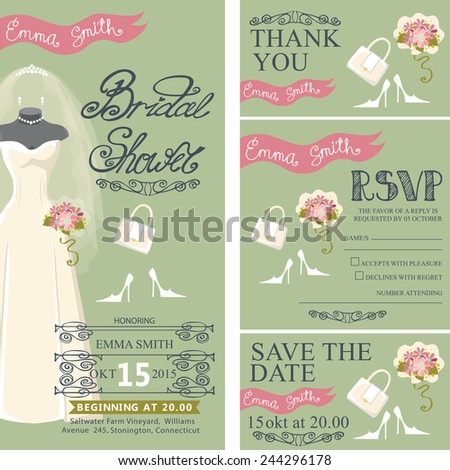 Bridal shower invitation set.Bridal wedding dress with veil and bridal accessories, hand writing text,pink ribbon,swirling border.Dress on mannequin.Wedding invitation, cards,RSVP.Vector - stock vector
