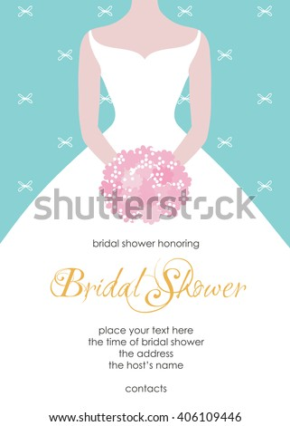 Bridal Shower Invitation Template Beautiful Bride Stock Vector