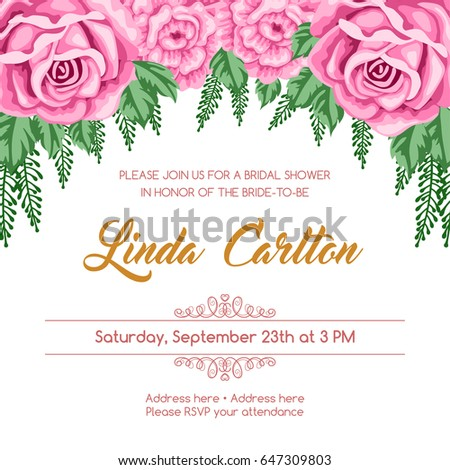 Bridal Shower Invitation Template Flowers Vector Stock Vector
