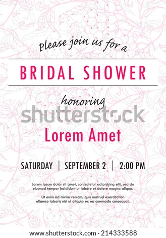 Bridal shower invitation template with rowan twigs and berries vector. You can use it for invitations, flyers, postcards, cards and so on. - stock vector