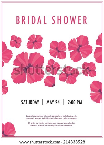 Bridal shower invitation with delicate poppy buds and flowers vector. You can use it for invitations, flyers, postcards, cards and so on. - stock vector