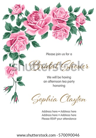 Bridal shower wedding invitation roses vector stock vector royalty bridal shower or wedding invitation with roses vector illustration stopboris Image collections