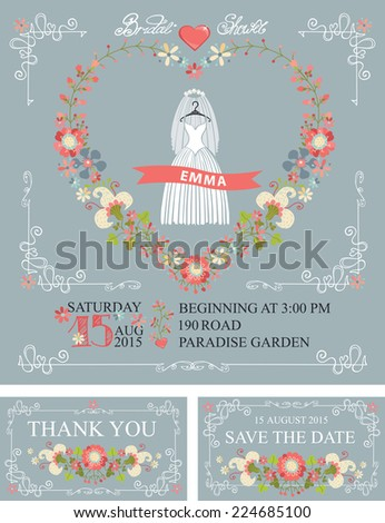 Bridal Shower Set Cute Cartoon Wedding Dress Stock Photo (Photo ...