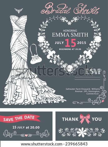 Bridal shower template set.Silhouette  Wedding dress  with floral wreath in heart shape, hand writing text,ribbon.Wedding invitation,save the date card, thank you card,RSVP.Cute vintage Vector