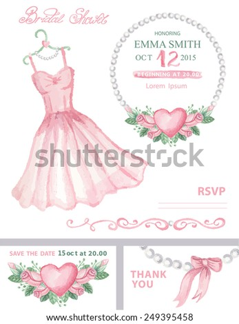 Bridal shower template set.Watercolor Wedding pink dress  with floral roses wreath ,pearls, hand writing text,ribbon.Wedding invitation,save the date card, thank you card,RSVP.Cute vintage Vector - stock vector