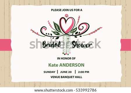 Bridal shower vector template invitation text stock vector royalty bridal shower vector template invitation with text please join us and heart on grunge wood stopboris Image collections