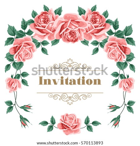 Bridal shower wedding invitation save date stock vector royalty bridal shower wedding invitation or save the date card template with roses vector illustration stopboris Images