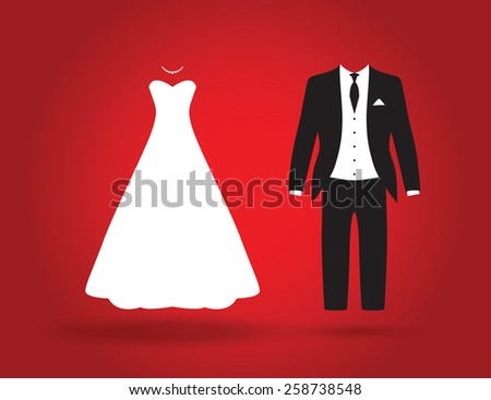 bride and groom - stock vector