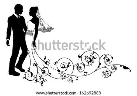 Bride and groom at their wedding, perhaps having first dance or about to kiss, with beautiful bridal dress and abstract floral pattern train.  - stock vector