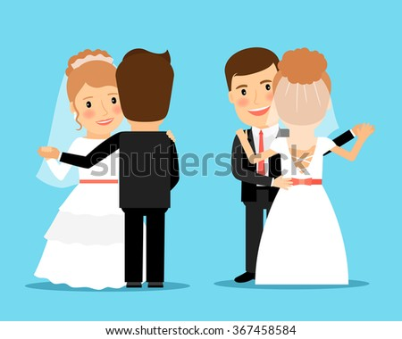 Bride and groom dancing. Wedding dance vector illustration - stock vector