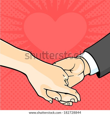 Bride and groom hands - stock vector