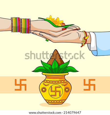 Bride And Groom In Indian Hindu Wedding Vector