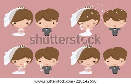 Bride and groom in Kawaii style. Gradient free. - stock vector