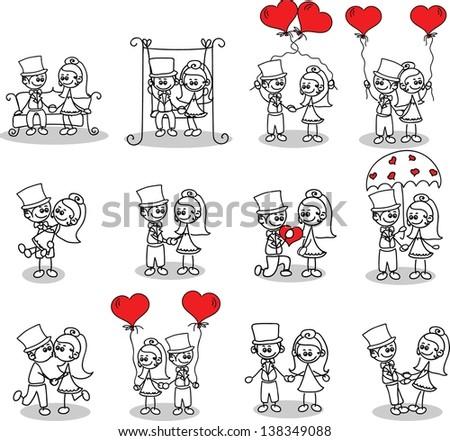 Bride and groom in love - vector doodle - stock vector
