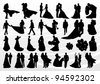 Bride and groom in wedding silhouettes illustration collection background vector - stock vector