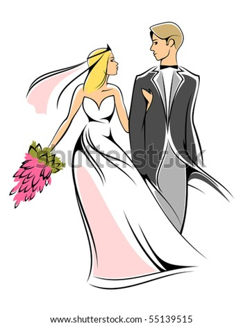 Bride and groom. Jpeg version also available in gallery - stock vector