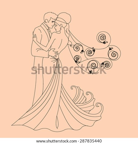 bride and groom kissing and cuddling - vector