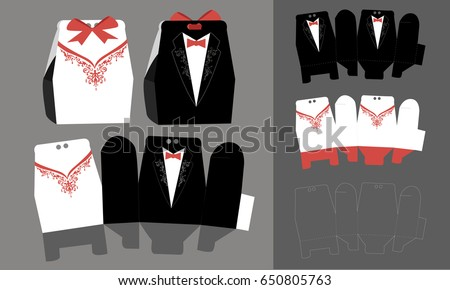 Bride groom paper bonbonniere candy box stock vector 650805763 bride and groom paper bonbonniere candy box vector diy box template tuxedo and malvernweather Image collections