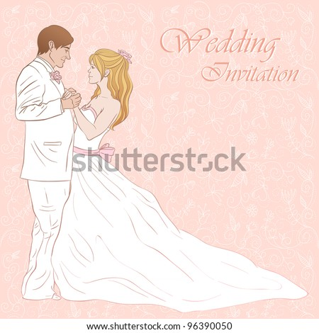 Bride and groom wedding invitation card on a lovely floral background - stock vector