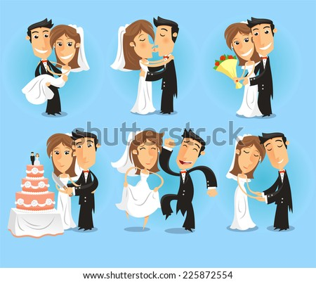 Bride and groom Wedding Party vector illustration. - stock vector