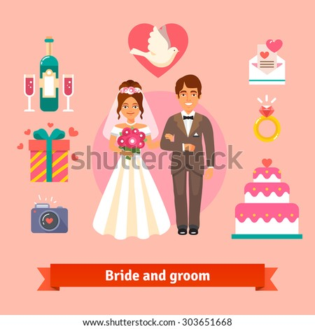 Bride and groom with wedding icons set. Loving couple. Flat style vector illustration isolated on pink background.