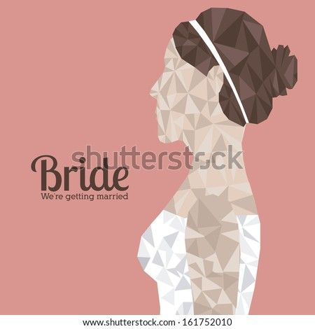 bride design over pink background vector illustration - stock vector