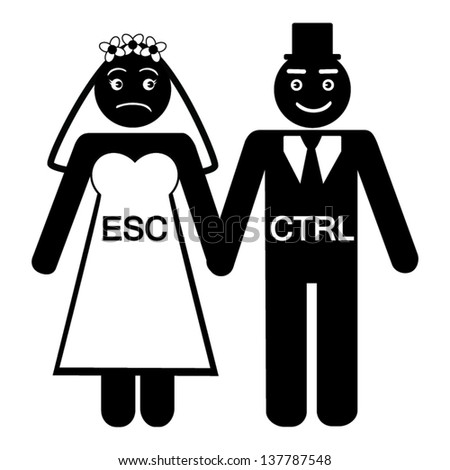 Bride ESC groom CTRL  icon vector - stock vector