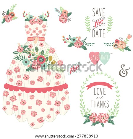 Bride Floral Wedding Dress Set - stock vector