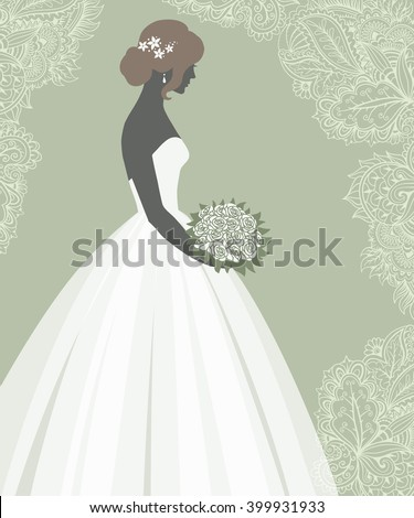 Bride Wedding Dressvector Illustration Design Invitation Stock Photo