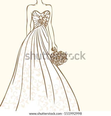 Bride in beautiful wedding dress vector illustration - stock vector