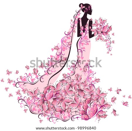 Bride in floral dress with butterfly - stock vector