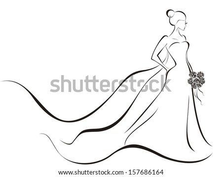 Bride in wedding dress  - stock vector